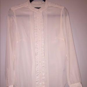 Jcrew silk tuxedo cream long sleeve top.